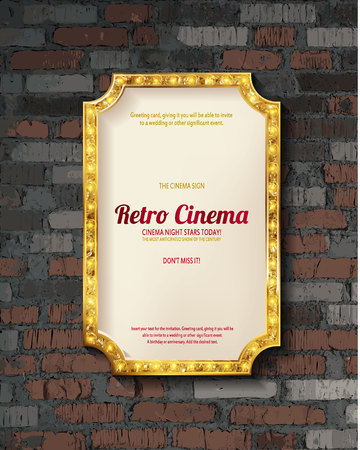 Gold frame with light bulbs on the background of old vintage brick wall. Vector illustration
