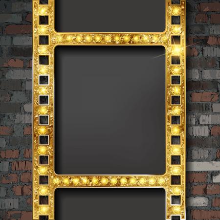Vector film strip gold. Vintage ribbon on old brick wall background. Vector illustration Reklamní fotografie - 124892659