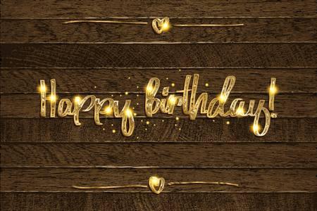 Golden happy birthday inscription on wooden background. Vector illustration Ilustração