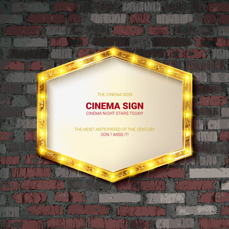 Marquee light gold board sign on brick background. Vector illustration 写真素材 - 124892667