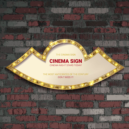 Marquee light gold board sign on brick background. Vector illustration 写真素材 - 124892668