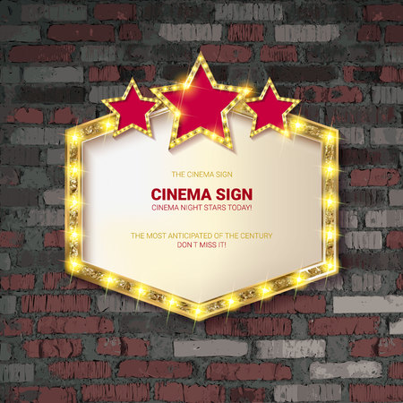 Marquee light gold board sign on brick background. Vector illustration