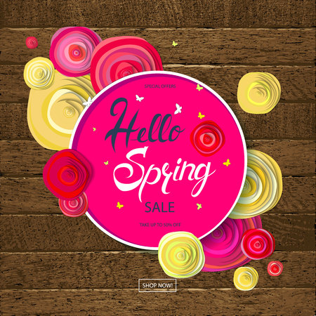 Hello Spring card design with a wooden background and text in round frame, vector illustration. Lettering design element