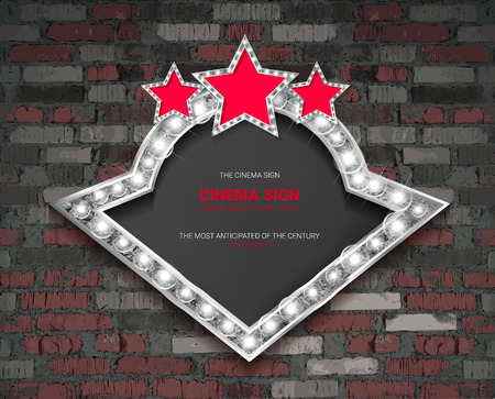 Marquee light silver board sign on brick background. Vector illustration  イラスト・ベクター素材