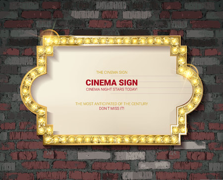 Marquee light gold board sign on brick background. Vector illustration 写真素材 - 124892731