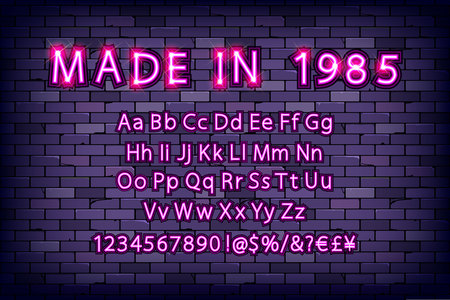 Made in 1985. Neon font vintage, light sign set. Vector illustration against a brick wall Vettoriali