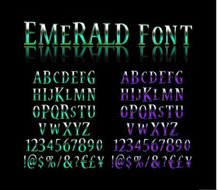Vintage alphabet font. Emerald effect letters and numbers. Vector typeface set Illusztráció