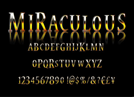 Vector stylish Sign Magic Show. Chic thin Font. Luxury Alphabet Letters, Numbers and Symbols. Vector illustration Ilustracja