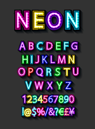 Neon light alphabet, multicolored extra glowing font. Exclusive swatch color control. Easy to edit. Especially for your graphic design