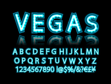 Neon light alphabet, multicolored extra glowing font. Exclusive swatch color control. Vector illustration 写真素材 - 124892746