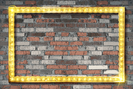 Close up antique old baroque ornate classic golden painted horizontal rectangular frame for picture or photo, over grey brick wall background. Vector illustration