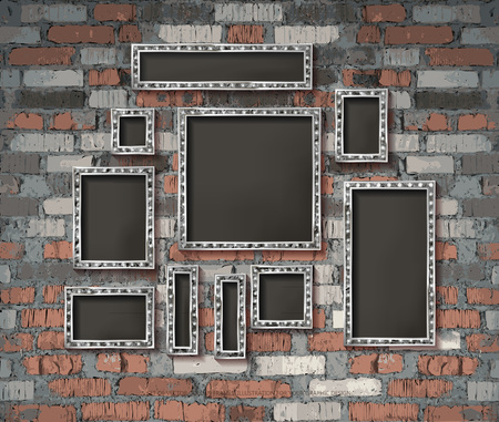 Set of silver vintage frames on old brick wall background. Vector illustration