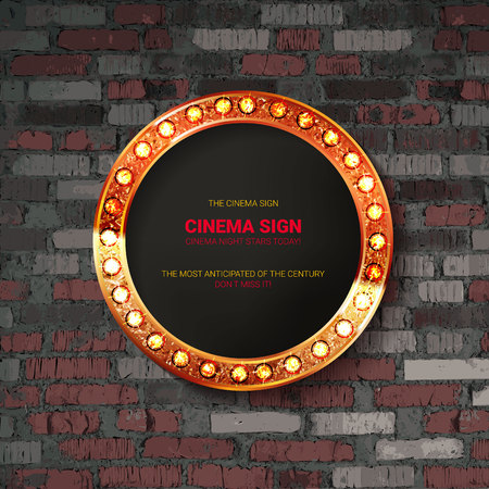 Vector Marquee light circle board sign on brick wall background. Vector illustration 写真素材 - 124892788