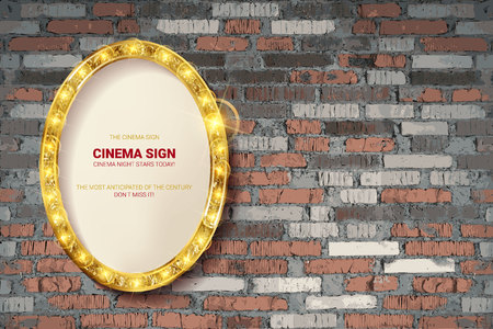 Oval frame on brick wall background. Vector illustration Ilustrace