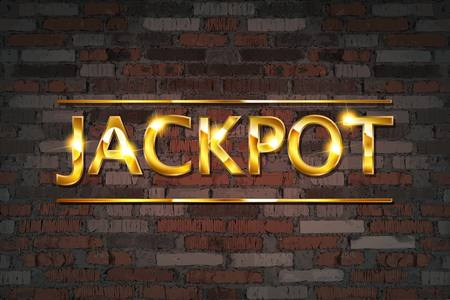 Jackpot gambling games banner with jackpot inscription against an old brick wall. Vector illustration