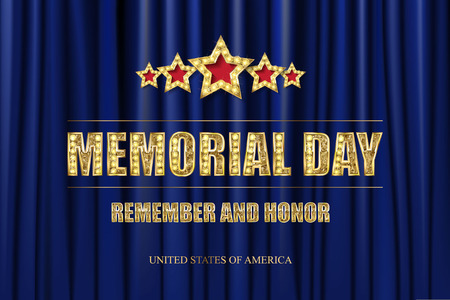 Memorial day. Greeting card. Gold inscription on red curtain background. Vector illustration 일러스트