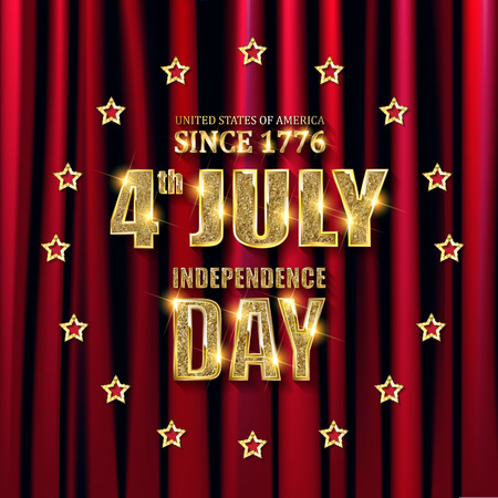The USA Independence day. Greeting card. Gold inscription on red curtain background. Vector illustration