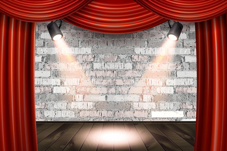 Wooden stage with red curtains and a white brick wall with spotlights, mock up. Vector illustration