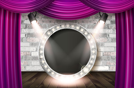 Silver frame in cinematic style on brick wall and red curtain background with spotlights. Vector illustration Ilustrace