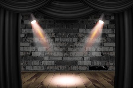 Escenario de madera con cortinas negras y una pared de ladrillo blanco con focos, maqueta. Ilustración vectorial