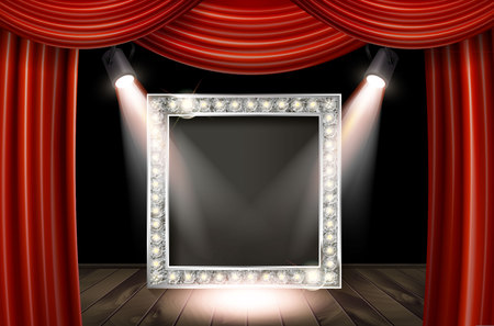 Silver frame in cinematic style on red curtain background with spotlights. Vector illustration
