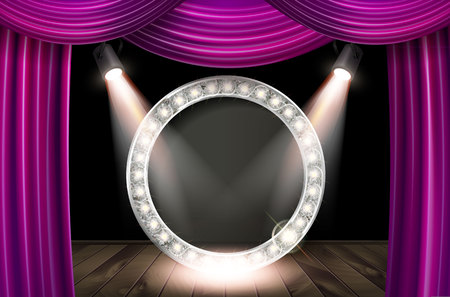 Silver frame in cinematic style on pink curtain background with spotlights. Vector illustration