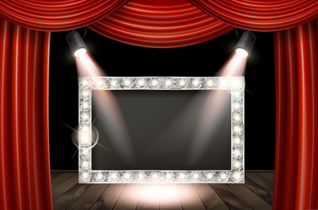 Silver frame in cinematic style on red curtain background with spotlights. Vector illustration Imagens - 124892855