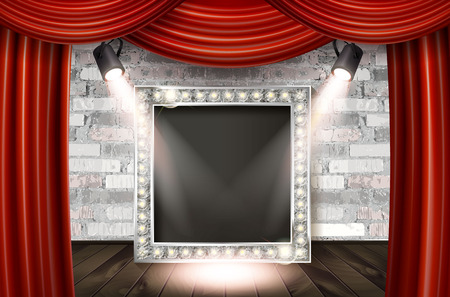 Silver frame in cinematic style on brick wall and red curtain background with spotlights. Vector illustration