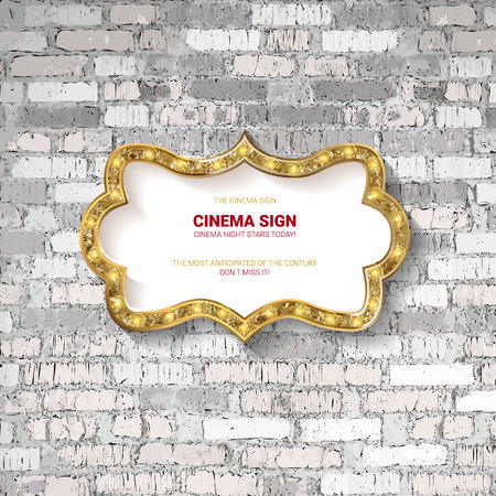Vector Marquee light board sign on light grey brick wall background. Vector illustration Иллюстрация