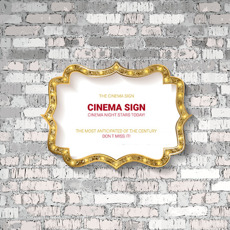 Vector Marquee light board sign on light grey brick wall background. Vector illustration  イラスト・ベクター素材