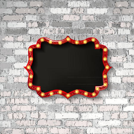 Vector Marquee light board sign on light grey brick wall background. Vector illustration 写真素材 - 124892863