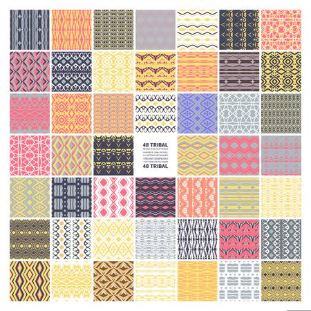 Set of 48 ethnic seamless patterns. Tribal geometric background. Stylish trendy fabric. Modern abstract wallpaper. Vector illustration. Stok Fotoğraf - 124892895