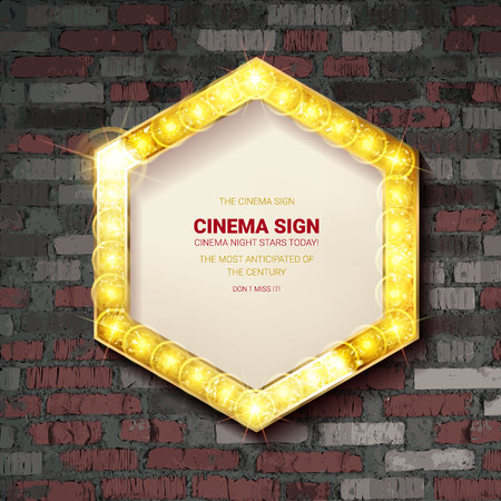Retro cinema bulb sign shape - vintage old theater casino or circus illuminated light frame banner. Against an old brick wall. Vector illustration