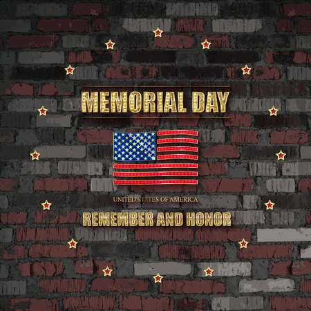 Poster for Memorial Day. Remember and honor. Federal holiday in the United States. Festive card with gold star against a vintage brick wall. Vector illustration 일러스트