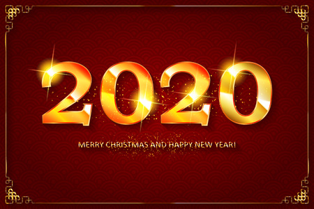 Happy new year 2020 Greeting Card. Vector illustration