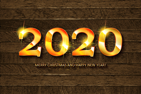Happy new year 2020 Greeting Card on vintage wooden background. Vector illustration
