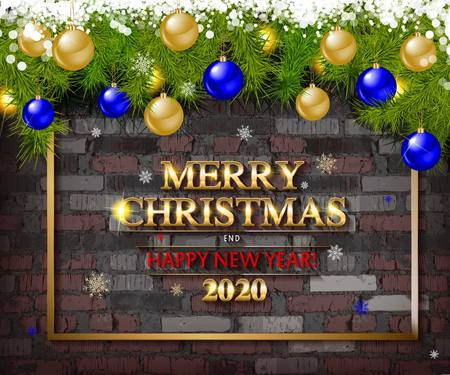 Christmas tree garland on the background of an old brick empty wall. Christmas balls on the garland. Sparks, neon spotlight, illuminated Christmas. Merry Christmas and happy new year 2020 Ilustrace