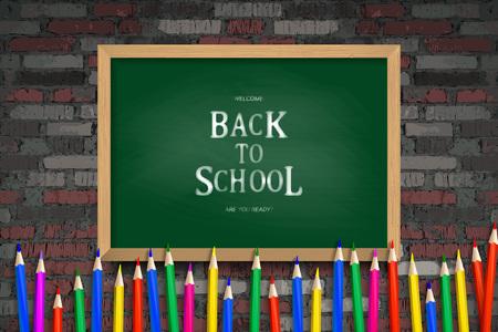Back to school background, vector illustration Against an old brick wall Ilustração