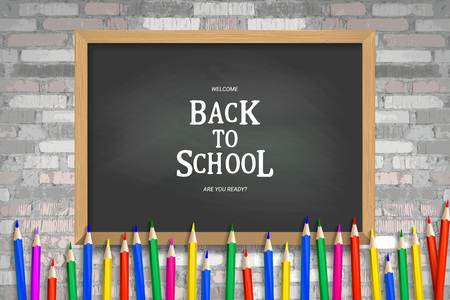 Back to school background, vector illustration Against an old brick wall Illustration