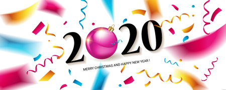 Happy New Year 2020. Abstract design with colorful ribbons and confetti. Greeting card or poster template. Vector illustration. Banque d'images - 124892908