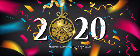 Happy New Year 2020. Abstract design with colorful ribbons and confetti. Greeting card or poster template on white. Vector illustration. Banque d'images - 124892910
