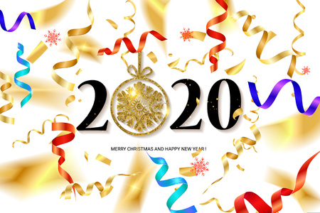 Happy New Year 2020. Abstract design with colorful ribbons and confetti. Greeting card or poster template. Vector illustration. Banque d'images - 124892912