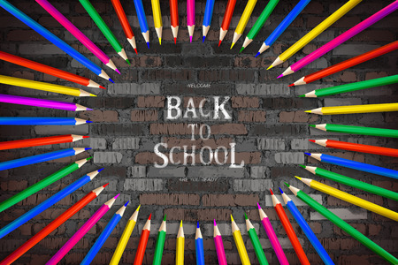 Circle of colored pencils and lettering back to school on vintage brick wall background. Banner on the topic of education. Vector illustration Imagens - 124892913