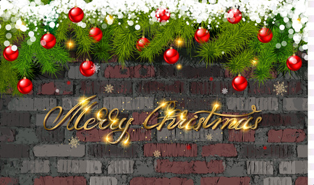 Merry Christmas and happy new year 2020 in gold lettering against a brick wall balls and spruce branches. Vector illustration Ilustração