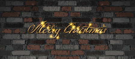 Merry Christmas . Golden lettering on the background of an old brick wall. Vector illustration