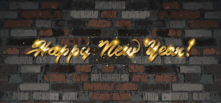 Happy 2020 New Year. Holiday Vector Illustration With Lettering Composition And Burst. Golden Textured Happy New Year Label. Against an old brick wall. Ilustrace