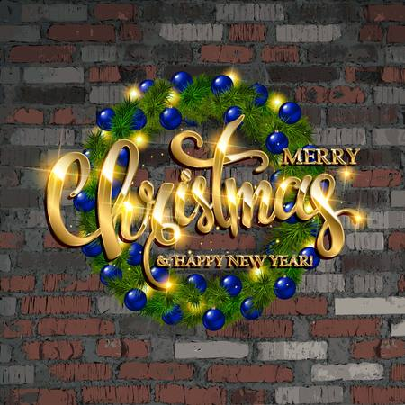 Christmas wreath of realistic branches of the Christmas tree, Golden balls, candles and stars elements for holiday design. Against an old brick wall. Vector illustration