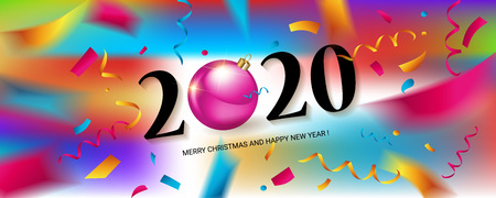 Happy New Year 2020. Abstract design with colorful ribbons and confetti. Greeting card or poster template. Vector illustration. Banque d'images - 124892945