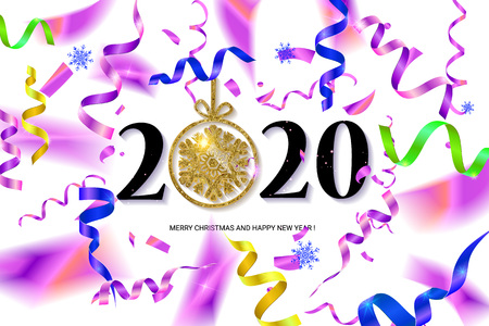 Happy New Year 2020. Abstract design with colorful ribbons and confetti. Greeting card or poster template. Vector illustration.