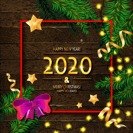 2020 Happy New Year and Merry Christmas Frame with Snow and real wood green pine. Design in square red frame with red bow. Vector illustration Stockfoto - 124892947